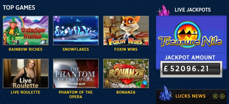 Play The Latest Lucks Casino Online Slots Games